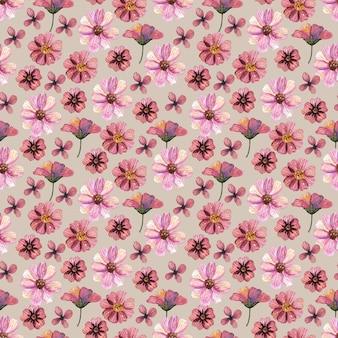 Delicate geperste bloemen aquarel naadloze patronen en gedroogde bloemstukken worden op natuurlijke achtergronden geplaatst
