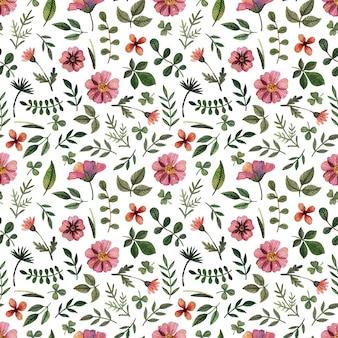 Delicate geperste bloemen aquarel naadloze patronen en gedroogde bloemstukken worden op wit geplaatst