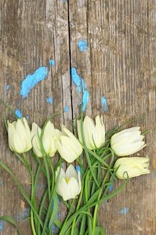 Delicate witte bloemen van gebarsten oude houten planken