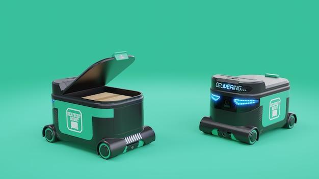 Delivery robot voedselbezorgrobots kunnen in de nabije toekomst huizen bedienen. agv intelligente robot