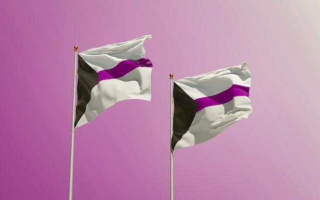 Demisexual pride flags op gekleurde achtergrond