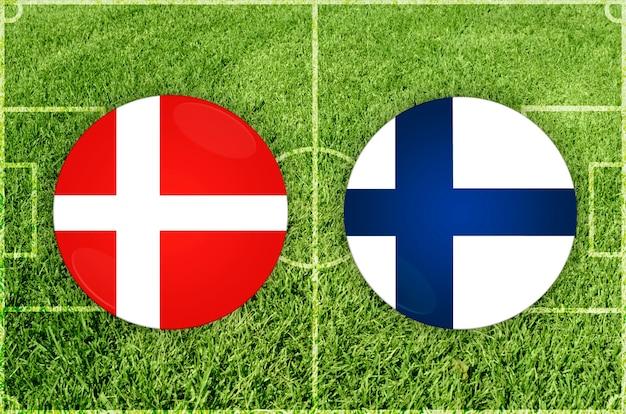 Denemarken vs finland voetbalwedstrijd