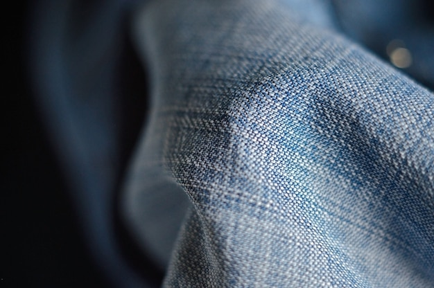 Denim draperie in blauw. detailopname Premium Foto