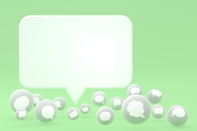 Denk aan reacties en tekstballon-emoji's 3d render