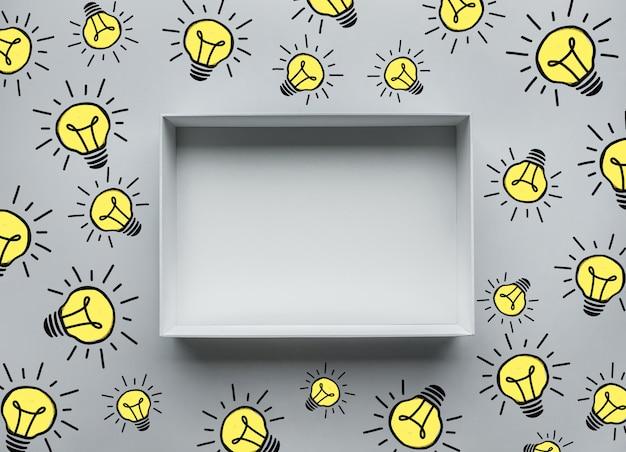 Denk out of the box concepten met gloeilampentekening