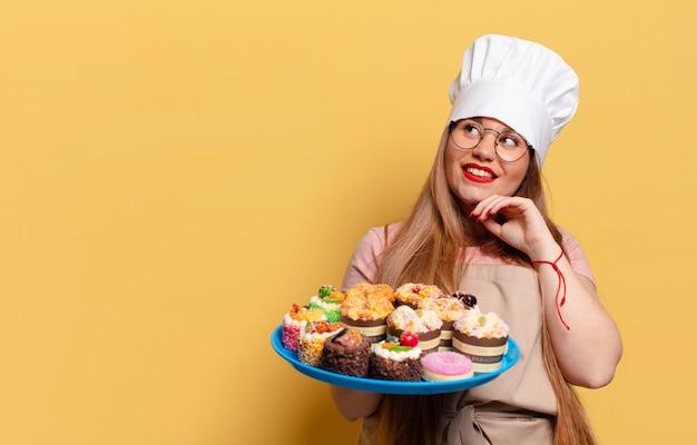 Denken of twijfelen aan uitdrukking bakker kookconcept