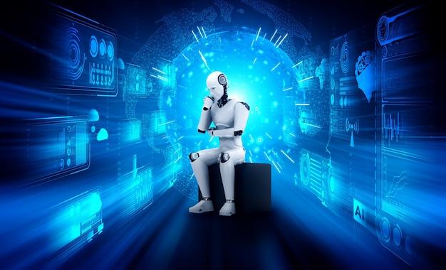Denkende ai-humanoïde robot die hologramscherm analyseert, toont concept van netwerk