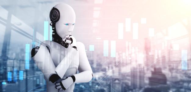 Denkende ai-mensachtige robot die de handel op de beurs analyseert