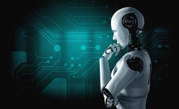 Denkende ai-mensachtige robot die informatiegegevens analyseert
