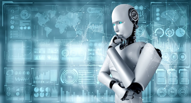 Denkende humanoïde ai-robot die hologramscherm analyseert met concept big data-analyse