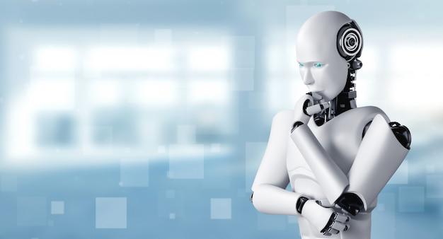 Denkende humanoïde ai-robot die informatiegegevens analyseert in concept van kunstmatige intelligentie