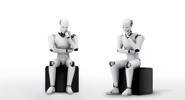 Denkende humanoïde ai-robot die informatiegegevens analyseert