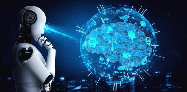 Denkende humanoïde robot van ai die hologramscherm analyseert, toont concept van netwerk