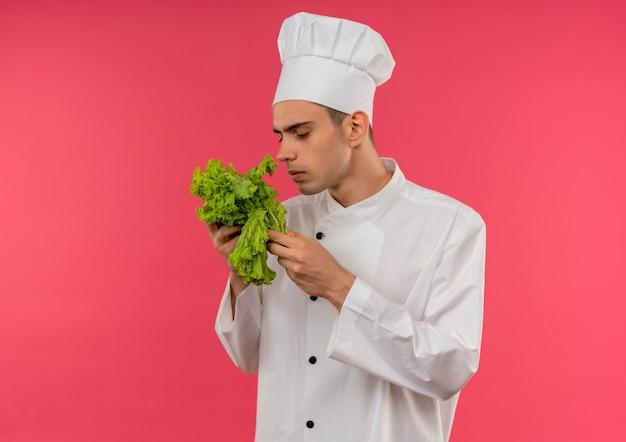 Denkende jonge mannelijke kok die chef-kok uniforme bedrijf draagt en salade met exemplaarruimte snuift