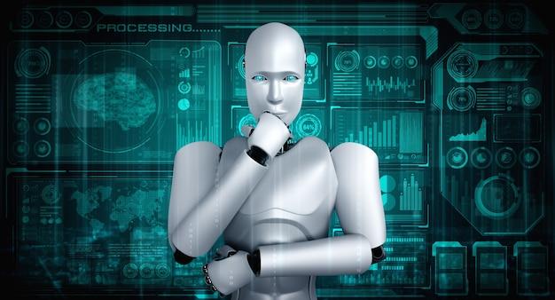 Denkende mensachtige robot ai analyseert hologramscherm met concept big data