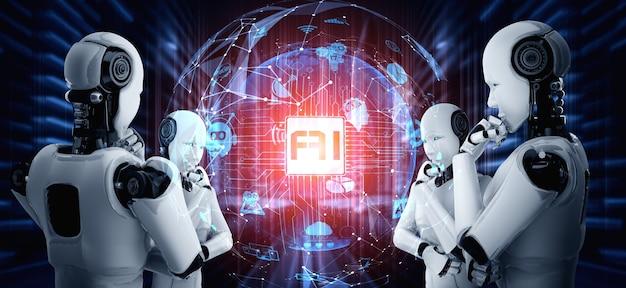 Denkende mensachtige robot ai analyseert hologramscherm met concept van ai