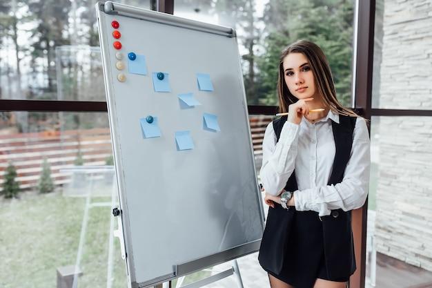 Denkende zakenvrouw die in de buurt van een wit bureau blijft en een nieuw programma plant voor haar werknemers.
