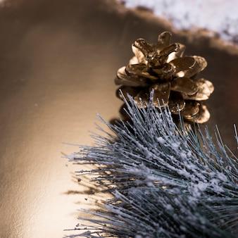 Denneappel en naaldboomtak die met sneeuw wordt behandeld