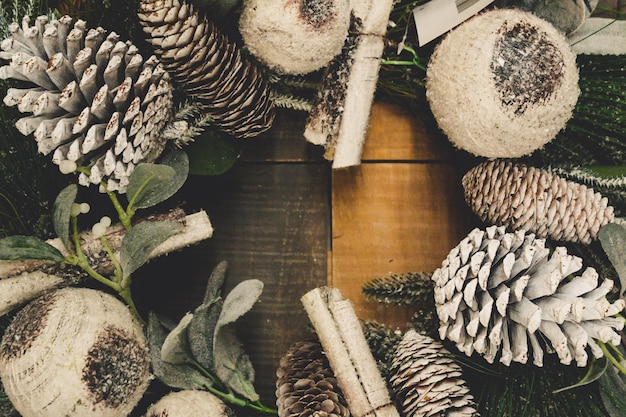 Denneappel krans kerstmis achtergrond
