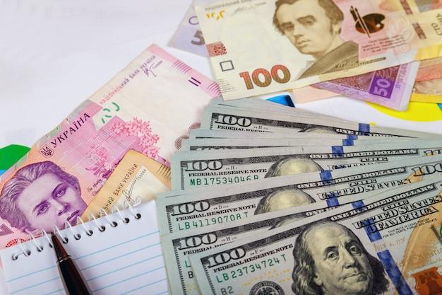 Denominaties van de oekraïense hryvnia van de rekeningen in de onder de rekeningen een fragment van de amerikaanse dollarbiljet.