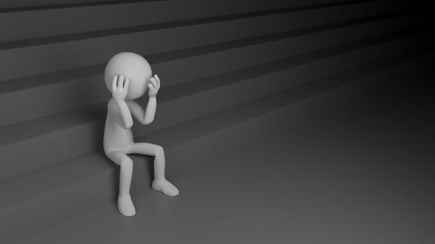 Deprimerende persoon met trappen. 3d-rendering