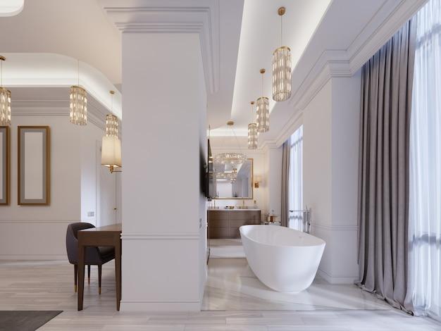 Design appartement met open slaapkamers en badkamers in een moderne stijl. 3d-rendering.