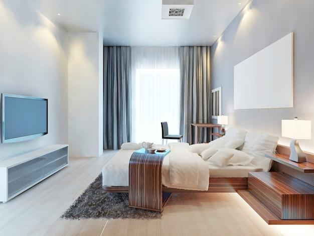 Design slaapkamer kamer in eigentijdse stijl met houten meubilair zebrano en wit interieur en textiel. de slaapkamer heeft een groot raam en een tv-meubel in lichte kleuren. 3d render.