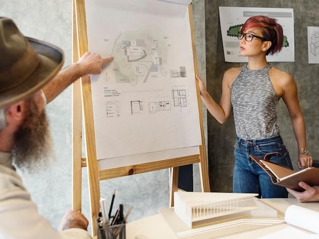 Design studio architect creatief beroep meeting blueprint concept