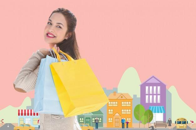 Designer verkoop boodschappentassen gelukkig