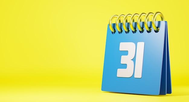 Desktopkalender tegen met laatste dag jaar nummer 31 3d-renderingillustratie