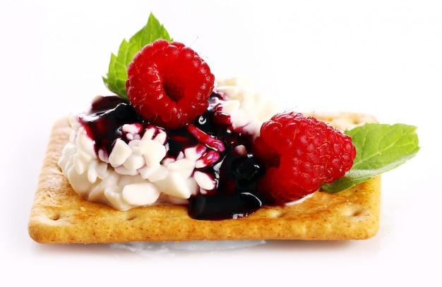 Dessert met frambozen en kwark