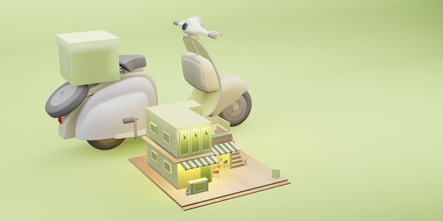 Dessert winkel model coffeeshop restaurant bezorgservice cartoon afbeelding 3d illustratie