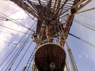 Detail op zeilboot