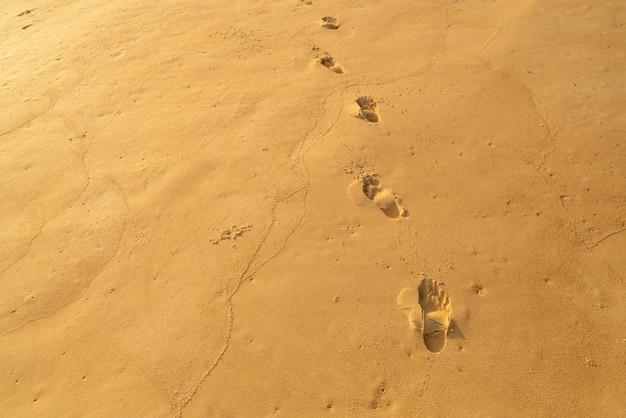 Detail textuur van zand zee zon strand om te ontspannen in vakantie zonnige zomer achtergrond met voetafdruk op zand prachtig strand in phuket thailand.