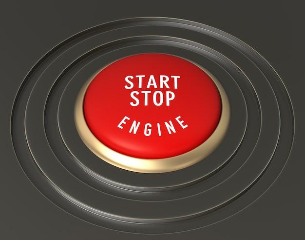Detail van auto start - stop knop. digitaal gegenereerde afbeelding