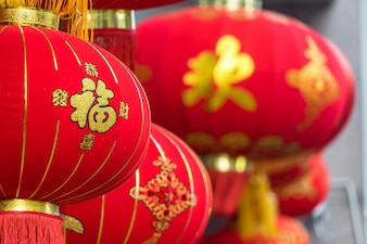 Detail van Chinese rode lantaarns