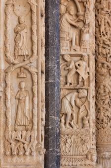 Detail van de kathedraal van st. lawrence in trogir in kroatië