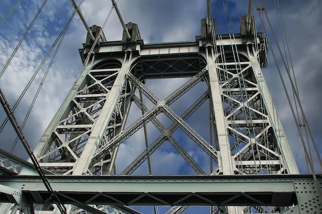 Detail van de wiliamsburg-brug in de stad van new york