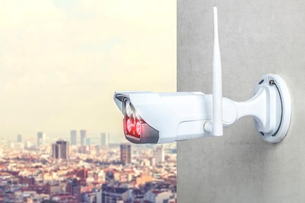 Detail van een bewakingscamera met infraroodtechnologie