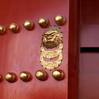 Detail van een deur, verboden stad, peking, china