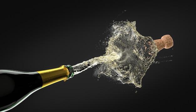 Detail van een kurk van een fles champagne