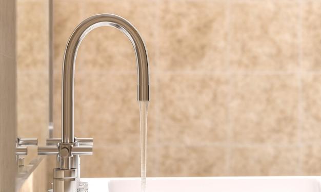 Detail van een moderne kraan in een badkamer waaruit water stroomt.