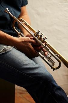 Detail van een trompet metalen instrument