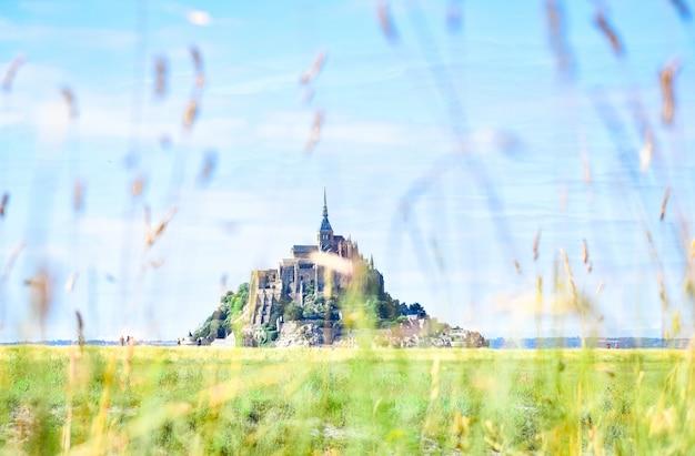 Detail van gras op de voorgrond met het silhouet van de mont saint michel
