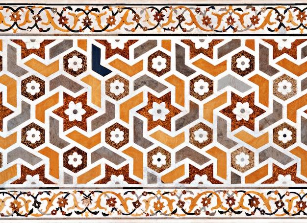 Detail van het versieren van de taj mahal