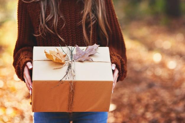 Detail van in de herfst verpakt cadeau