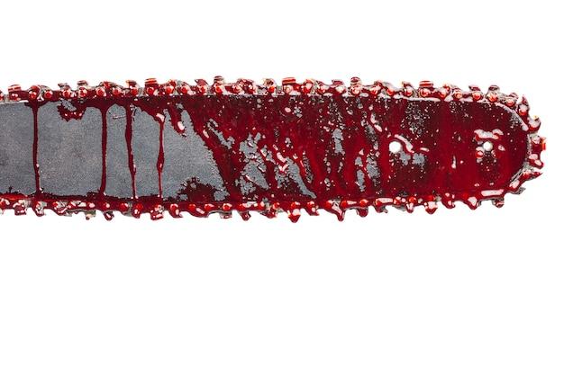 Detail van kettingzaag met bloed