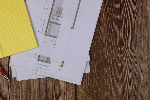 Detail van project, architectuur keukenplan op de blauwdruk van de huisrenovatie in het architectenbureau