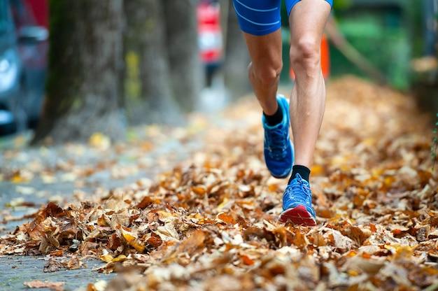 Detail van runner schoenen onder de bladeren