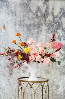 Detailopname. mooi boeket verse bloemen.